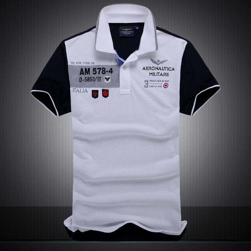 new summer autumn Air Force One men's boutique embroidery Aeronautica Militare lapel   polo   shirt men's Business cotton   polo   shirt