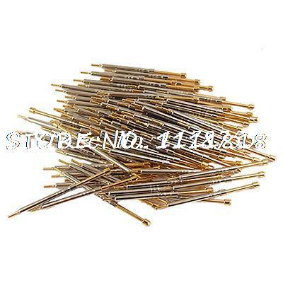 цена на 100 Pcs CSP-3H 2mm Serrated Tip Testing Probe Gold Tone 36mm Length