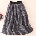 Na primavera de 2016 novos Coreano bonito saia de renda cintura elástica na saia longa saia feminina