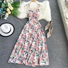 Женское богемное пляжное платье OCEANLOVE, длинное платье трапециевидной формы с открытой спиной и принтом, модель 2020 года, сексуальное платье с высокой талией, 11515Платья    АлиЭкспресс