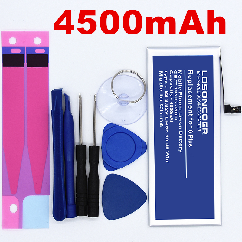 100% Original LOSONCOER 4500mAh For Iphone 6 Plus Battery 3400mAh For Apple IPhone 6 Battery Free Tools +stickers
