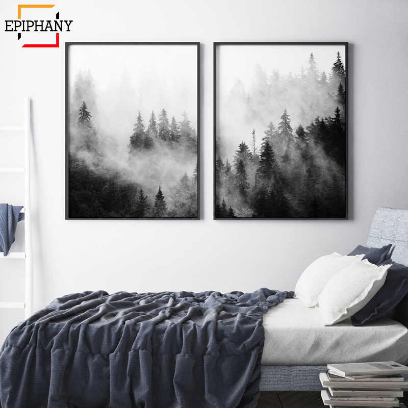 Forest Prints Black and White Nature Scandinavian Wall Art Canvas Painting Modern Minimalist Landscape Foggy Mountain Posters