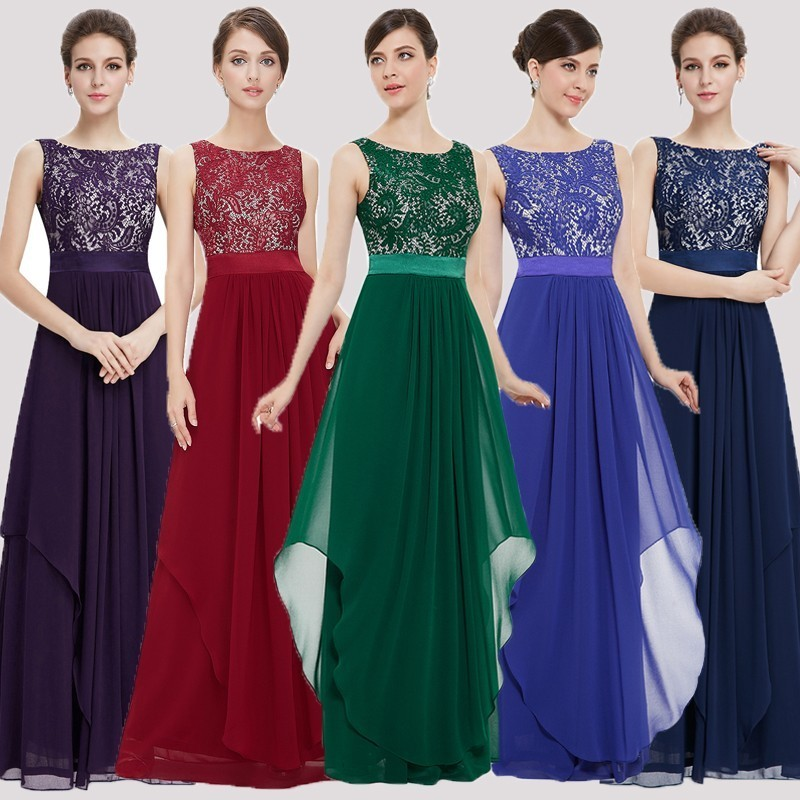 Bridesmaid Dresses for Wedding Guest Dresses Ever Pretty Lace Sleeveless A line Chiffon Cheap Green Purple