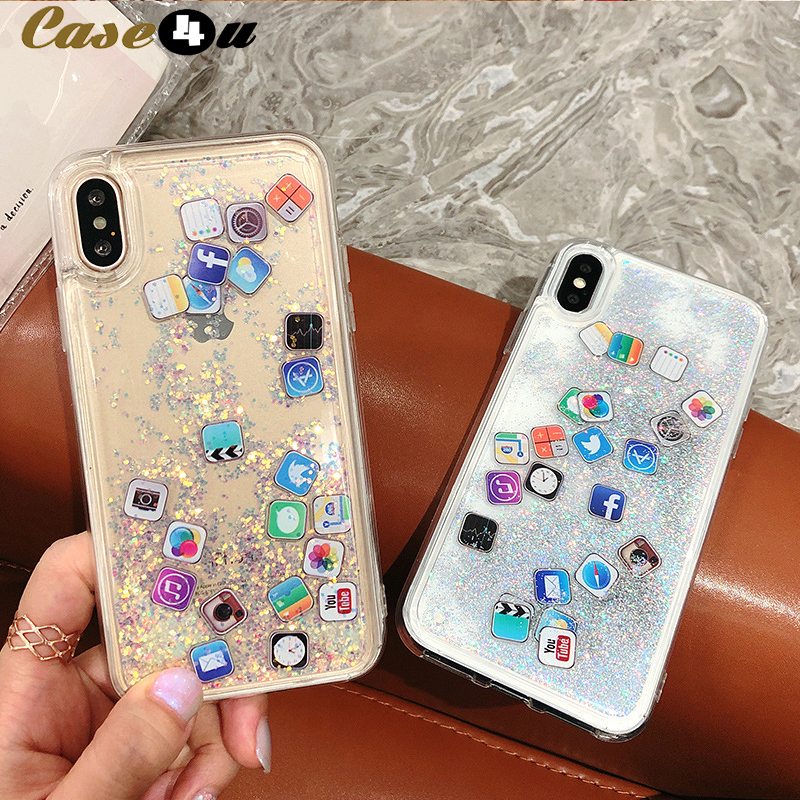 for iphone 6 7 8 Plus 6s Apps icon Quicksand Case for iphone XR XS Max Clear Liquid Cover Glitter Coque for iphone X XS 7 Fundas image
