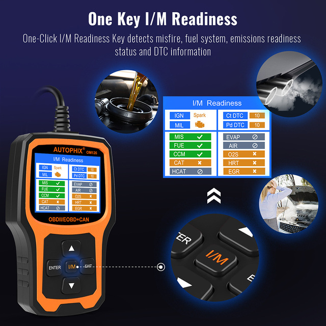 Autophix OM126 OBDII Automotive Scanner Auto Car Code Reader Engine Scanner Fault Code Reader with Russian OBD2 Diagnostic Tool
