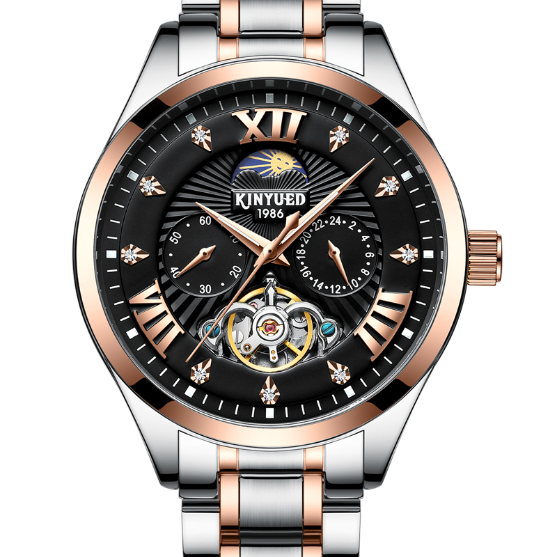 KINYUED New Automatic Military Watch Men Moon Phase Self Wind Waterproof Mens Mechanical Watches Tourbillion Montre