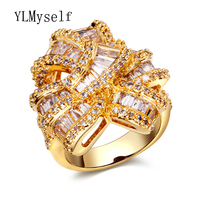 Anel de luxo para o vestido de noite do desenhador das mulheres únicas jóias da cor do ouro cubic zirconia meu índice de aliexpress grandes anéis de dedo