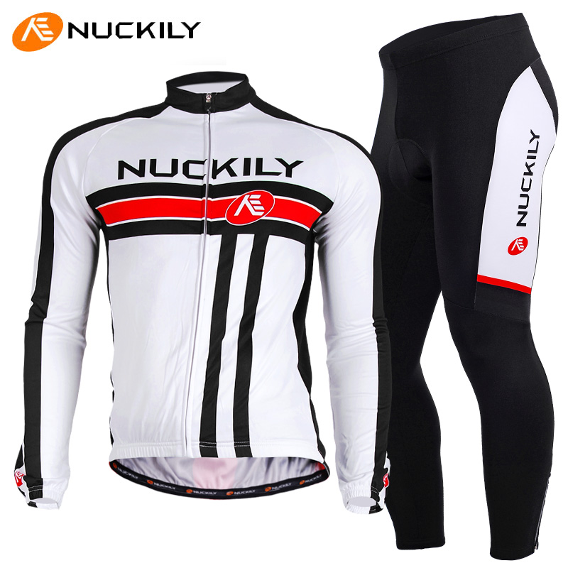 ФОТО NUCKILY Mountain Bicycle Bike Clothing Men Autumn Spring Cycling Sets Long Sleeve + Pants Suit Ropa Ciclismo Masculino Gray Pad