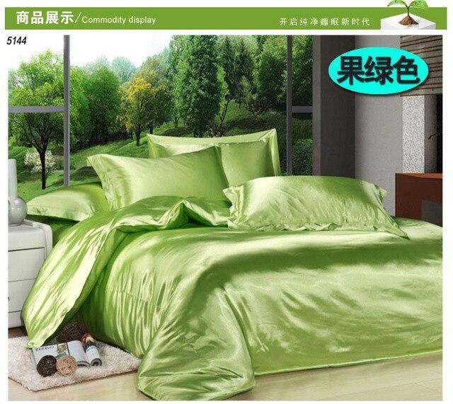 Avocado Green Silk Bedding Set Pure Solid Color Fruit Green Silk Bed Linen  Satin Comforter Cover