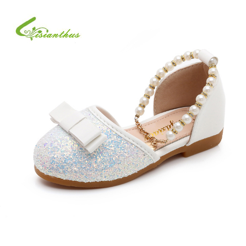 Spring Fashion Children Shoes for Girls Princess Party Leather Shoes Bowknot Girl Sequins Shoes Non-slip Kids Dress Shoes