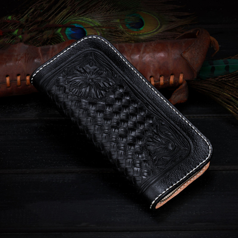 2017 Black Cow Leather Wallets Woven Grain Bag Purses Women Men Long Clutch Wallet Card Holder Zipper Vegetable Tanned Leather