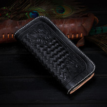 2017 Black Cow Leather Wallets Woven Grain Bag Purses Women Men Long Clutch Wallet Card Holder Zipper Vegetable Tanned Leather