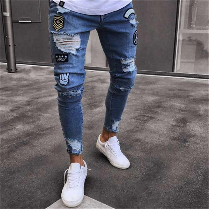 52b389cd51e 2019 Men Stylish Ripped Jeans Pants Biker Slim Straight Hip Hop Frayed Denim  Trousers New Fashion