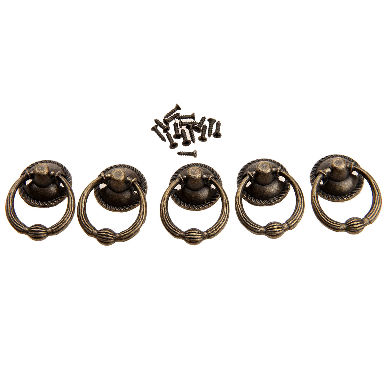 5Pcs 37x27mm Antique Bronze Furniture Knobs for Wood Box Kitchen Drawer Cabinet Door Handle Cupboard Brass Ring Pull Handles in Cabinet Pulls from Home Improvement