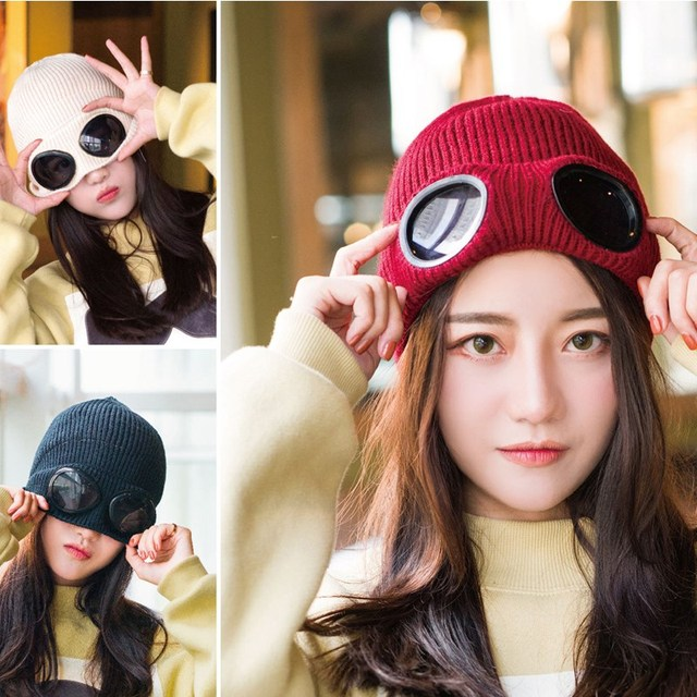 2018 Windproof Glasses Hat Knitting Wool Bonnet Winter Fashion Gorros Cap  Fixing Stacking Knitted Hats Women 360e07dbde84