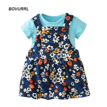 BOVURR 2pcs Set  Baby Girl Dress O-Neck babies Dresses for Girls Cotton Floral Dresses with Short Sleeve Cardigan Baby Clothing