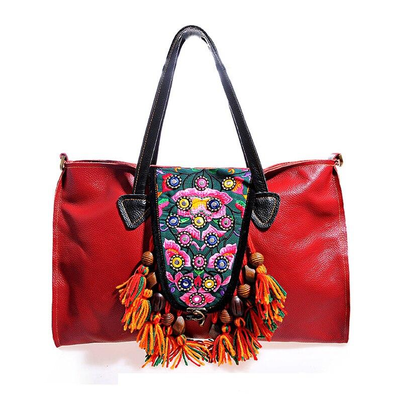 287dcc194 Más nuevo de Bohemia rojo mujeres del cuero genuino bolsos bordado étnico  borla hecha a mano cuero de vaca bolsas de hombro mensajero en Bolsas de  hombro de ...