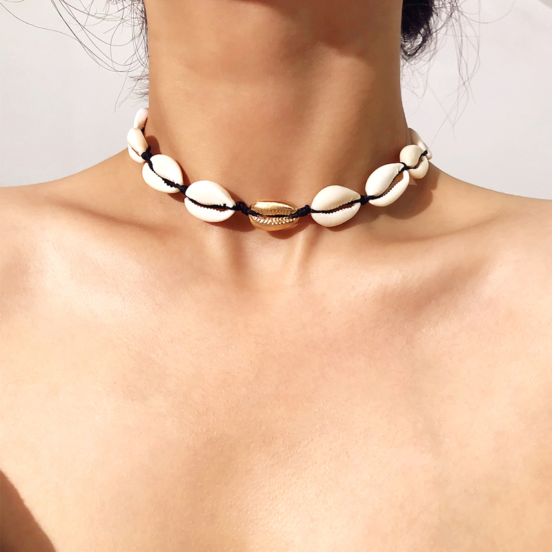 Fashion Women Simple Beach Sea Shell Cowrie Pendant Chain Necklace Jewelry Gifts