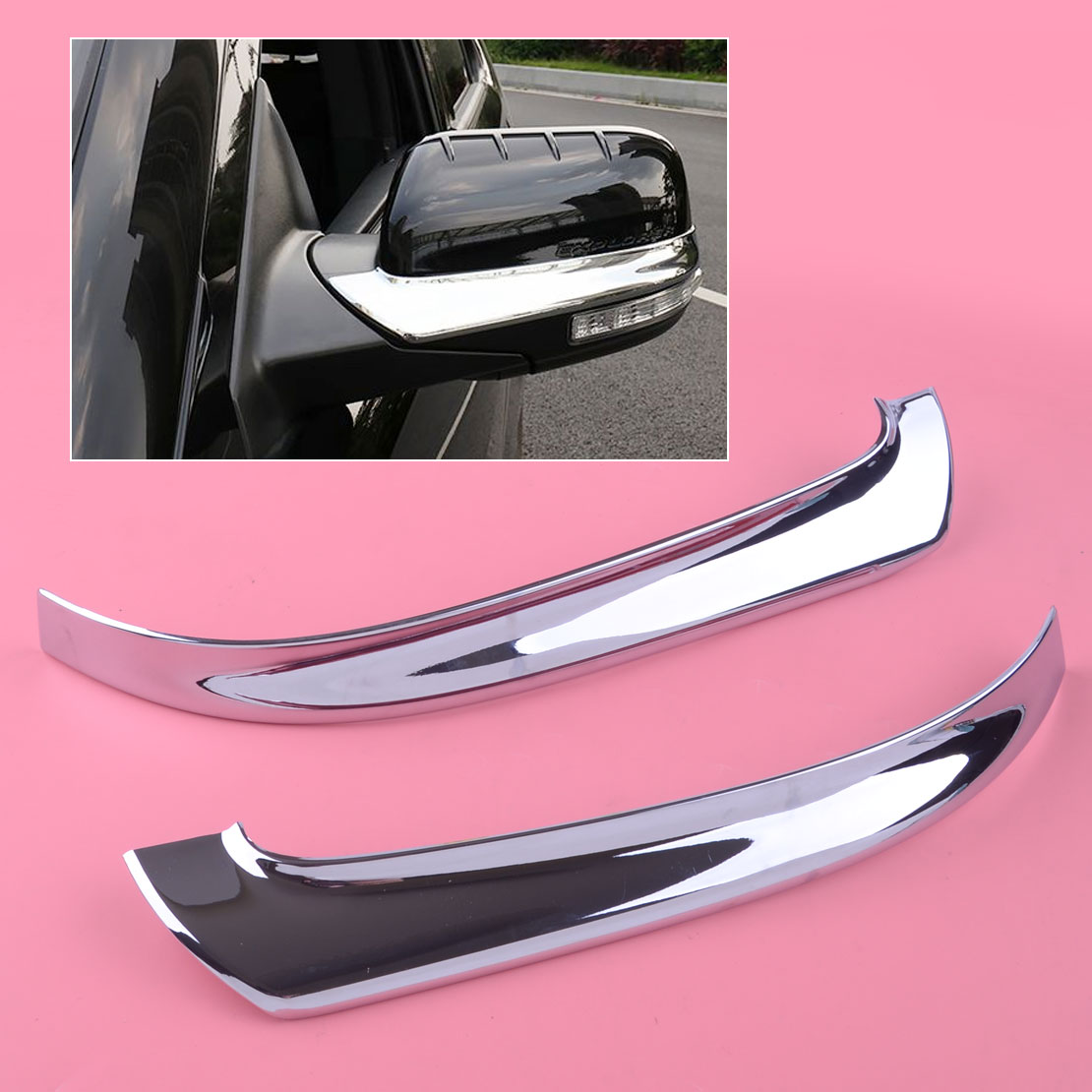 DWCX 2pcs Silver Left Right Chrome Plated Rearview Side <font><b>Mirror</b></font> Cover Strip Trim ABS Fit For <font><b>Ford</b></font> <font><b>Explorer</b></font> 2016 2017 2018 2019 image