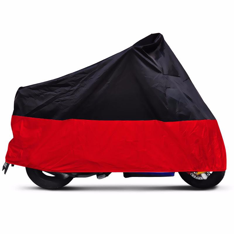 Universal-Black-Red-Breathable-XXXL-Outdoor-Full-Weatherproof-Rain-Dust-Protector-UV-Protective-Motorcycle-Cover-180T