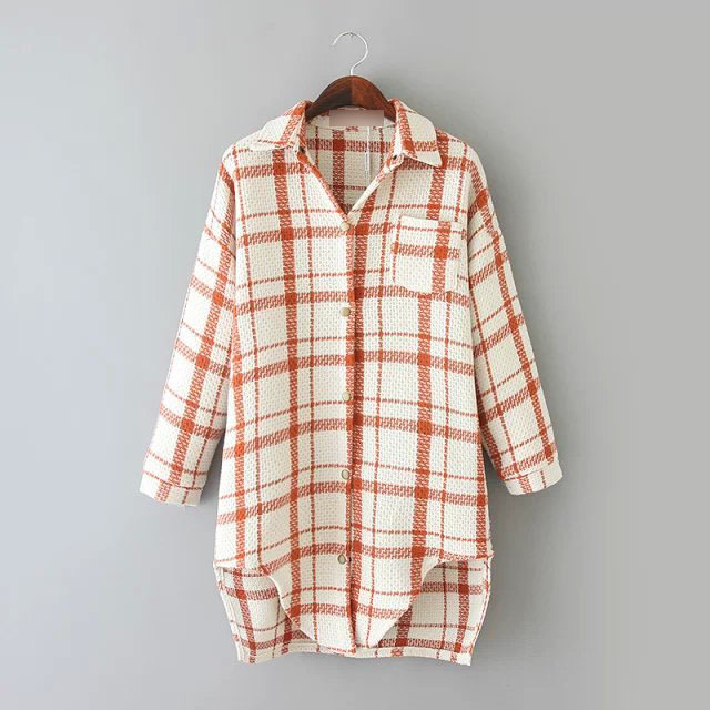 Rg485 Diseño Bottom Delgada Blusa Negro Las Niza Casual Shirt Primavera Camisa Plaid Imprimir Streetwear Mujeres Larga Irregular naranja Classic De g1xxw6dTq