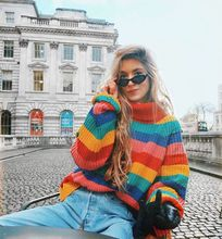 knit sweaters women plus size korean rainbow sweater girls pullovers full casual striped turtleneck pink harajuku fashion