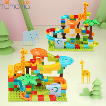 Tumama 91-143Pcs Marble Race Run Track Building Blocks Maze Ball Bricks Jungle Adventure Big Size Compatible  Bricks