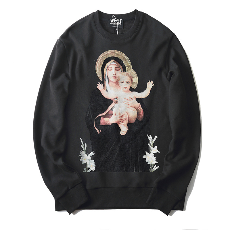 New 2019 Men Virgin Mary Halo Baby Hoodies Hoody Hooded Sweatshirts Velvet Cotton Drake Thick Fleece Street Hip Hop #L31