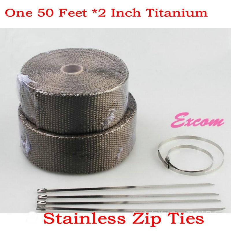 15 meters length 5cm widthTitanium color Exhaust Wrap Thermal Exhaust Heat Wrap + 8 pcs Ties