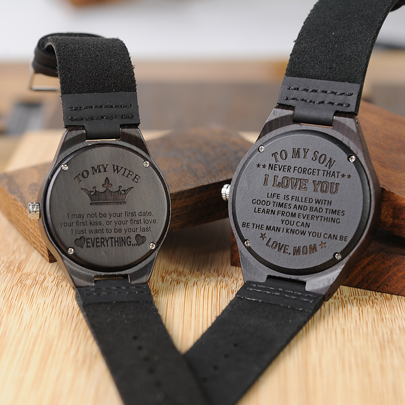 Personalized Ebony Wooden Wrist Watch for Son / Wife / Lover 13