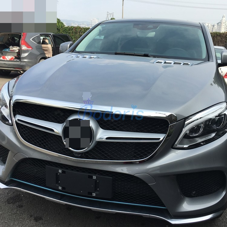 For Mercedes Benz GLE 2015 2016 2017 Coupe SUV W166 Front Grille Trim Overlay Panel Kit Chrome ABS Car Styling Accessories