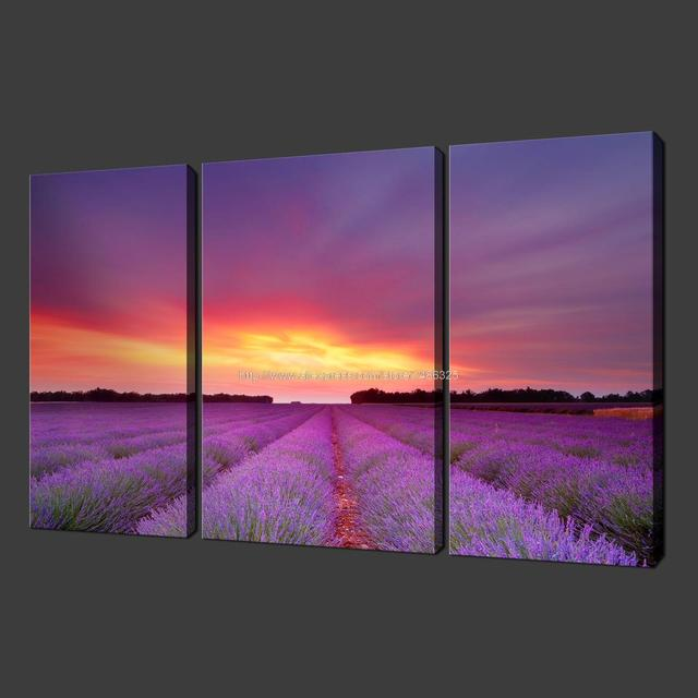 lavender sunset premium set of three canvas picture wall art oil