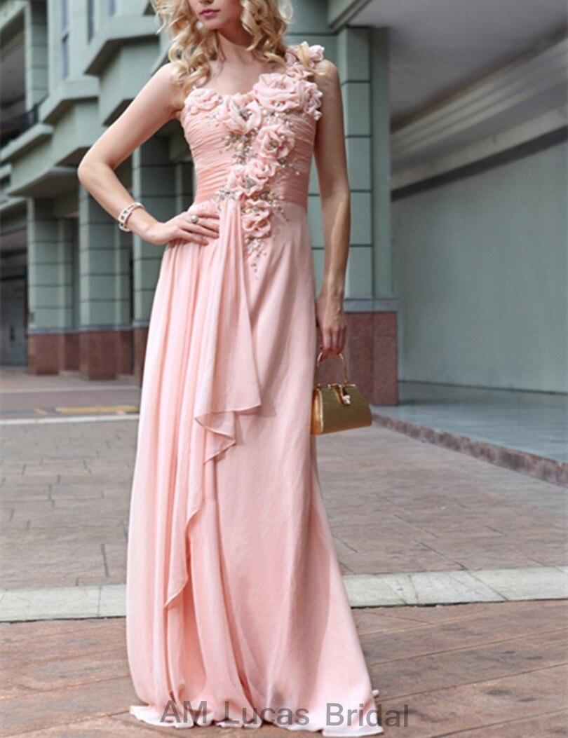 Baratos Sexy 2017 Vestidos de Noche Plisados Flores Hechas A Mano 3D ...
