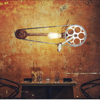 Retro wrought iron wall lamp industrial loft cafe bar aisle water studio Bicycle gear decorative wall lighting AC110 240V