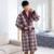 ¡ Nuevo! Otoño invierno Gruesa Tela Escocesa Túnicas de Lana de Los Hombres de Algodón acolchado Albornoces Albornoz de Los Hombres Homewear ropa de Dormir Pijamas XXXL Salones