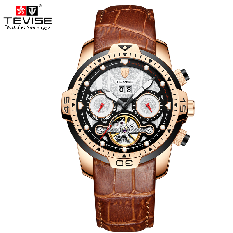 TEVISE Luxury Mens Automatic Mechanical Watches Self Wind Leather Watch Tourbillon Date Week Wristwatches Relogio MasculinoTEVISE Luxury Mens Automatic Mechanical Watches Self Wind Leather Watch Tourbillon Date Week Wristwatches Relogio Masculino