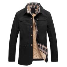 Осенне-зимняя обувь мужская куртка повседневная плюс бархатная куртка сплошной цвет бизнес Большие размеры хлопчатобумажное пальто M-4XL