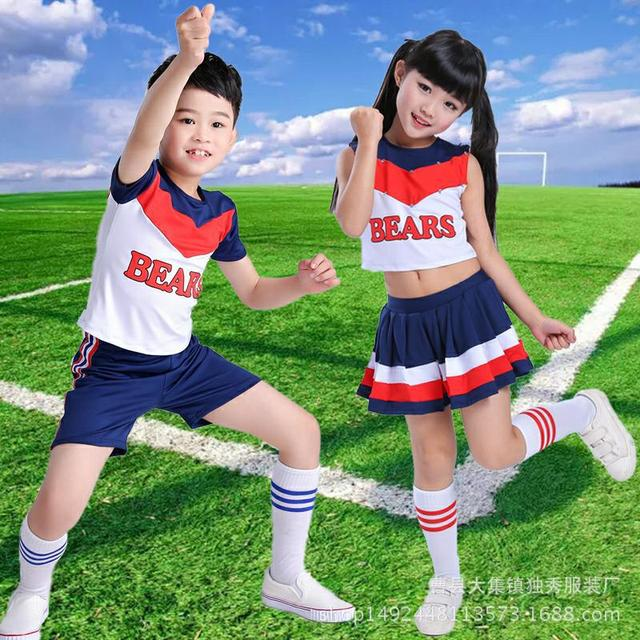 Children Cheerleading Campus Games Pleated Skirts Aerobics Primary Middle School Students Costumes Boy Girls Cheerleader Uniform