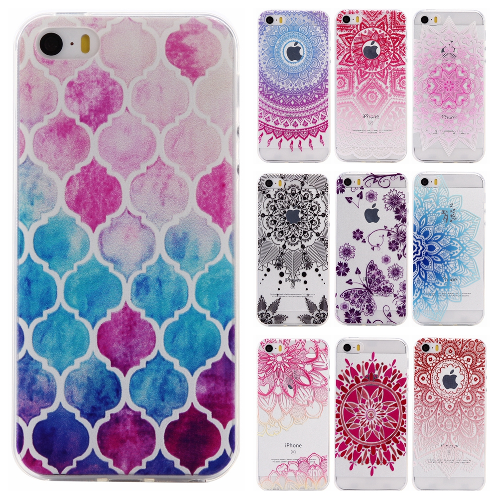 Colorful TPU Case sFor Coque Apple IPhone 5 5G 5S SE Floral Flower Clear Donuts Soft Gel Transparent Case Cover For IPhone5 S E