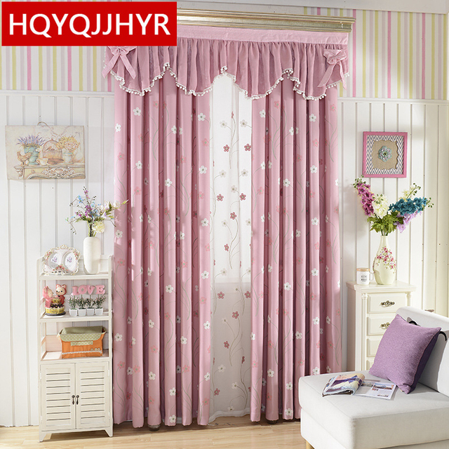 Modern Fashion Hot Pink Embroidered Shade Curtains For Living Room Sheer Bedroom Window Curtain