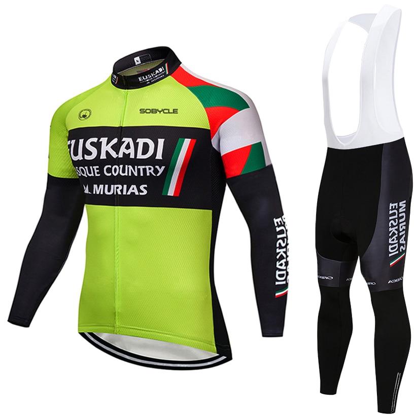 2019 команда EUSKADI Vélo 9D гель площадку велосипед Шорты ropa ciclismo мужские зимние длинные рукава велосипед Майо Culotte одежда