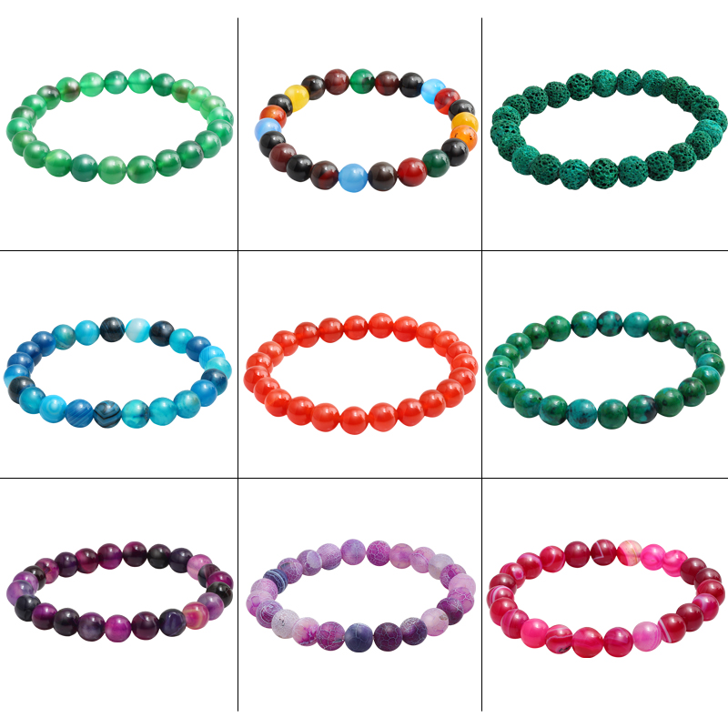 Trendy Agates Lava Volcanic Stone Purple Weathered Purecolor Turquoises Bracelets 15 Charm Men Red String Elastic