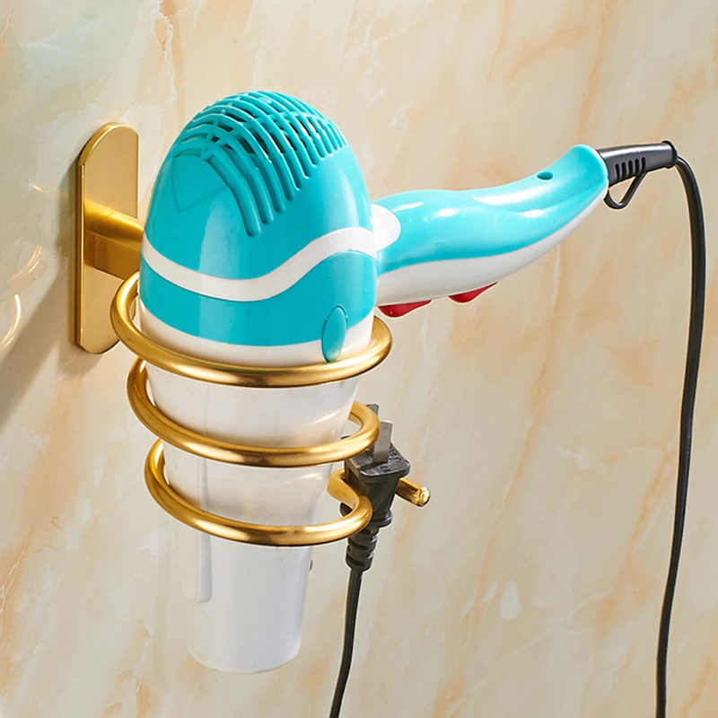 קיר רכוב שיער מייבש ארגונית ספירלת Stand מחזיק Rack מדף אחסון אביזרי אמבטיה קיר מדף
