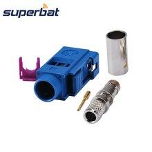 Superbat радиочастотный коаксиальный разъем Fakra C синий/5005 гнездовой разъем обжимной для кабеля RG58 LMR195 для gps антенны