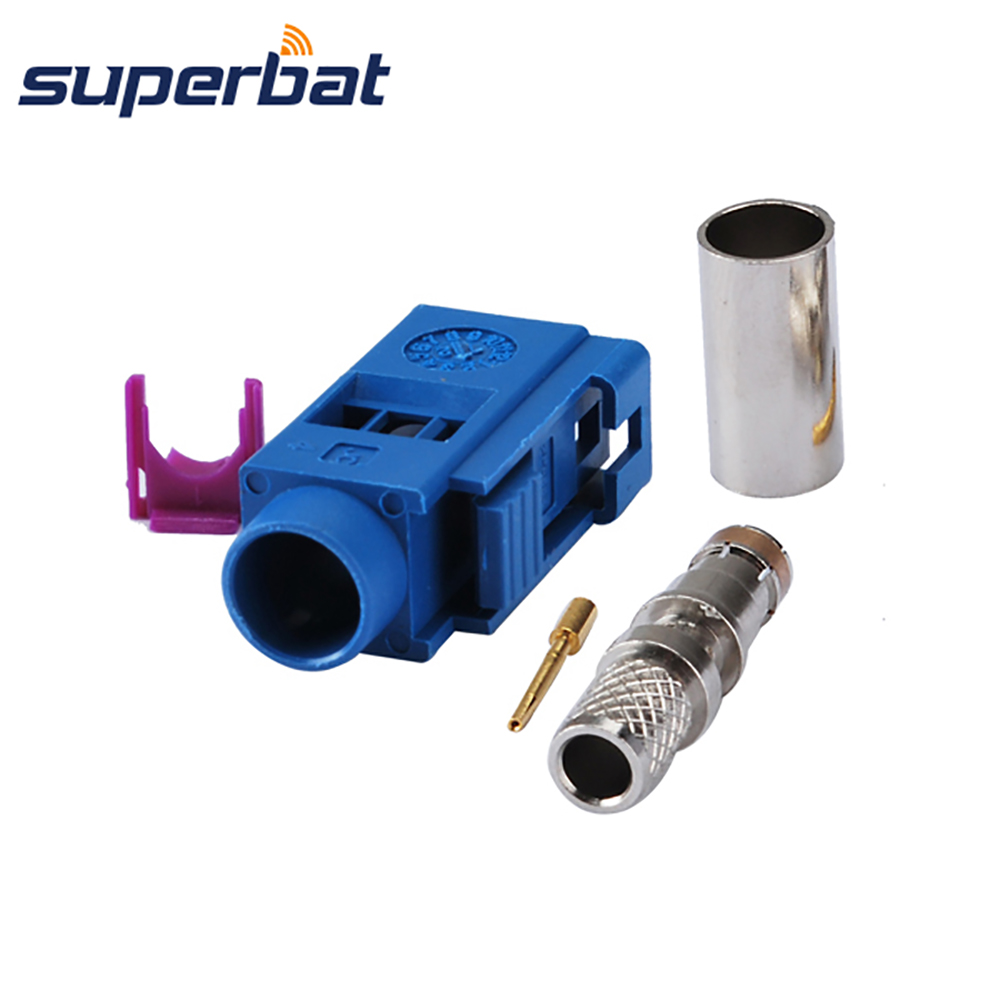 Superbat Fakra C Blue/5005 Female Jack Connector Crimp RF Coaxial Connector For Cable RG58 LMR195 For GPS Antenna