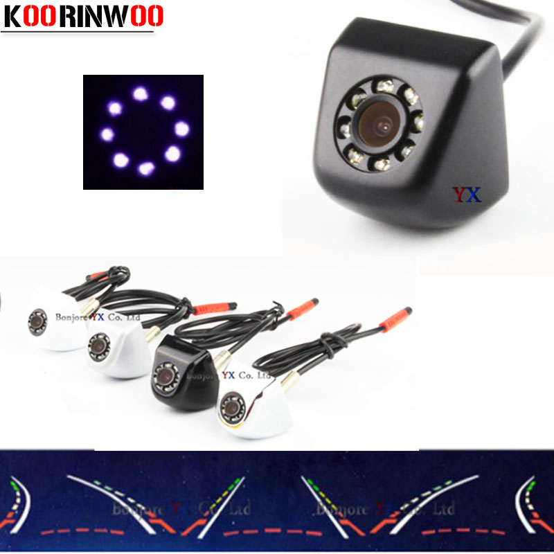 Koorinwoo Moving Dynamic Trajectory Univeral Auto Parking CCD HD Car Rear view Camera Backup 8 IR Lights Reversing Camera 2018 car rear view camera with intelligent dynamic trajectory tracks parktronic ccd reverse backup 8 ir parking cam night vision ip68