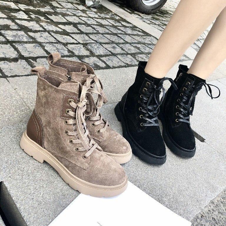 4906a4095 Moda Beige Alto Cuero Casuales Nueva Mujeres Gruesa Zapatos Cómodos Martin  Botas Simple negro Suela Retro Otoño ...