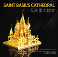 Catedral de são basílio modelo de cor de ouro P014-G 3D DIY modelo de construção DIY brinquedos educativos Jigsaw Puzzle presentes de corte a laser