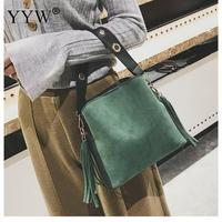 2018 Vintage Green Tassel Shoulder Bag Women Bucket Lichee Grain Hand Bag Ladies Black Crossbody Bags For Women New Arrival