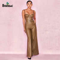 BOUSSAC Women PU Leather Jumpsuits 2019 Slash Neck High Quality Jumpsuit Women Rompers Sexy Bodycon Bodysuits Full Length Pants